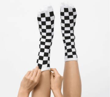 Ticker Socks Checkerboard Black/White
