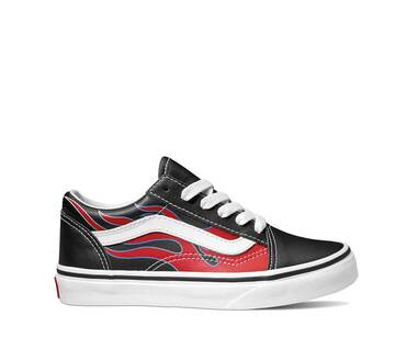 Kids Old Skool Moto Flame Black/Racing Red