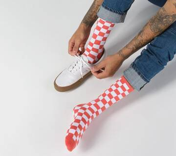 Checkerboard Crew Sock II Emberglow