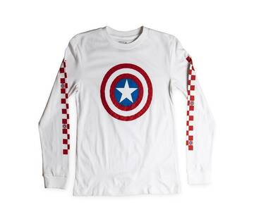 Vans X Marvel Captain Shields Long-Sleeve Boyfriend Tee