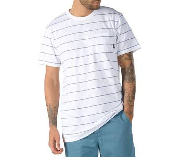Checked In Stripe Crew Tee White