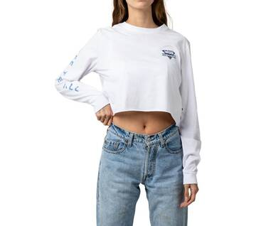 PARTICULATE CROP LONG SLEEVE WHITE