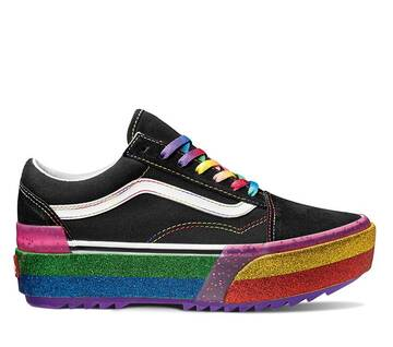 GLITTER OLD SKOOL STACKED BLACK/RAINBOW