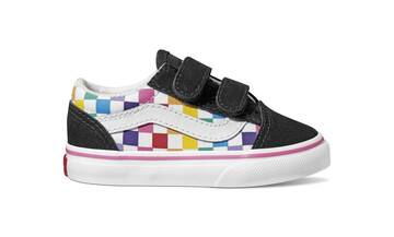 TODDLER VELCRO OLD SKOOL CHECKERBOARD RAINBOW