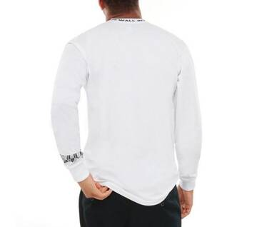 Off The Wall White Long Sleeve Jacquard Tee